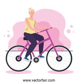 cute old woman in bicycle, leisure activity