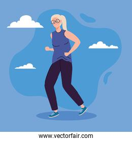 cute old woman walking, on blue background