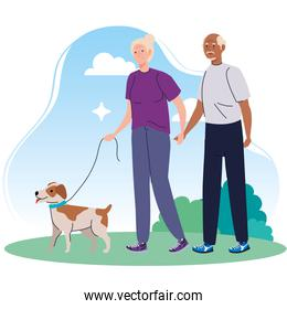old couple walking with dog pet in the park