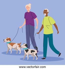 cute old couple walking with dogs mascots