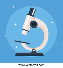 microscope, instrument of laboratory on blue background