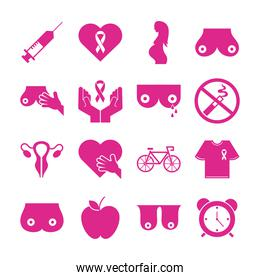 bundle of sixteen breast cancer set icons