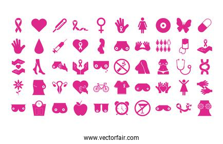 bundle of fifty breast cancer set icons
