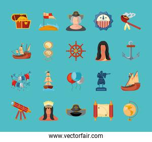 collection of icons columbus day