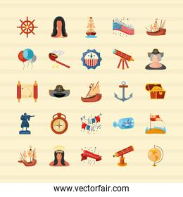 collection of columbus day icons