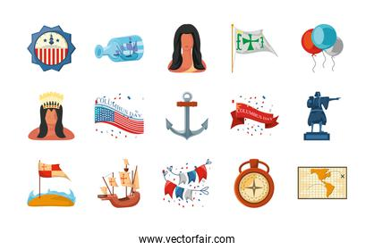 set of icons columbus day in white background