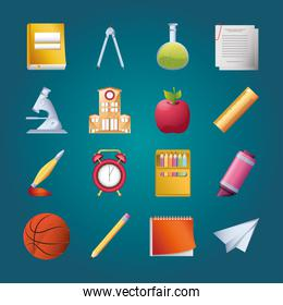 set of icons school in blue background