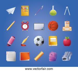collection of icons school on blue background