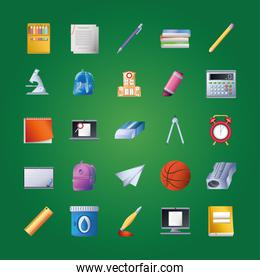 set of icons school in green background