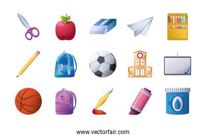 set of icons school over white background