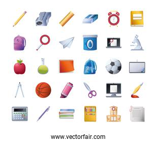 set of icons school on white background, detailed