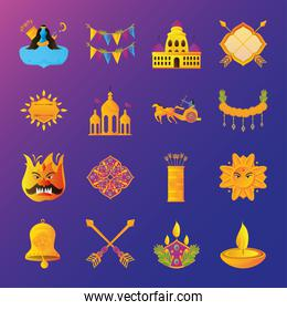 bundle of icons of the dussehra festival