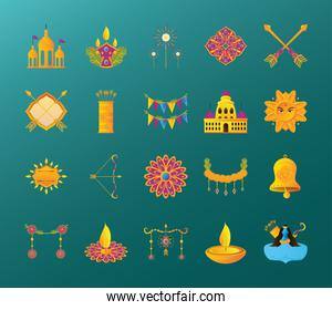 set of icons festival hindu dussehra
