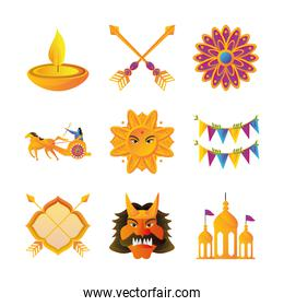 set of icons of the dussehra festival on white background