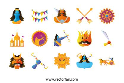 set of icons of the dussehra festival over white background