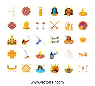 bundle of icons of the dussehra festival in white background
