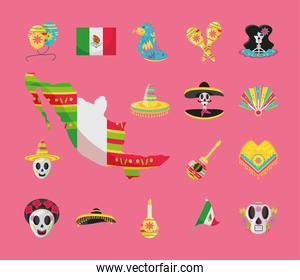 mexican detailed style bundle of icons vector design