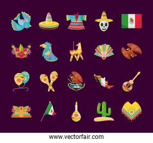 mexican detailed style icons bundle vector design