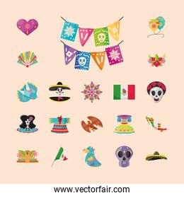 mexican detailed style icons group vector design