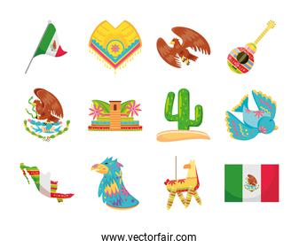 mexican detailed style set icon vector design