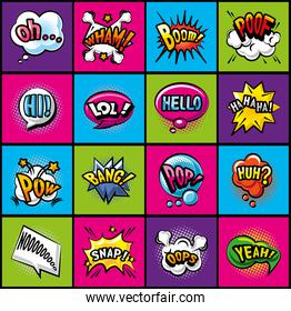 pop art bubbles detailed style icons collection vector design