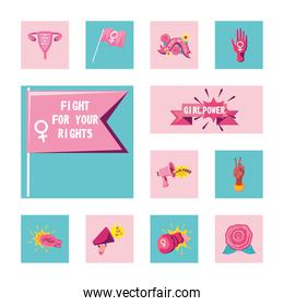 feminism detailed style collection of icons vector design