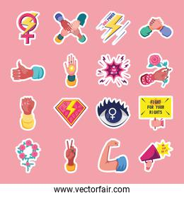feminism detailed style icons collection vector design