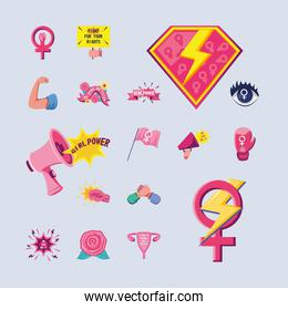 feminism detailed style icons group vector design