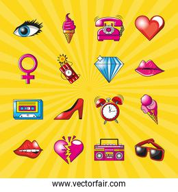 pop art detailed style collection of icons vector design