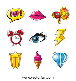 pop art detailed style icon set vector design