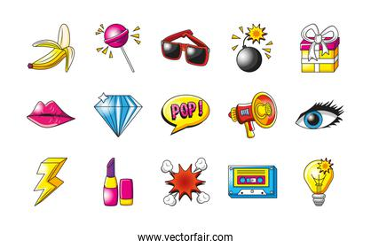 pop art detailed style set of icons vector design