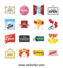 we are open detailed style collection of icons vector design