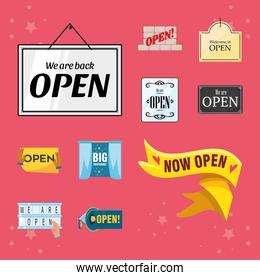 we are open detailed style icons collection vector design