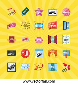 we are open detailed style icons group vector design