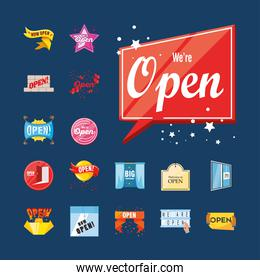 we are open detailed style symbols set vector design