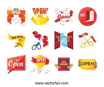 we are open detailed style set icons vector design