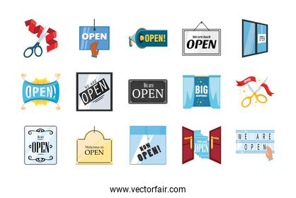 we are open detailed style set of icons vector design