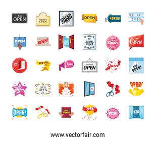 we are open detailed style 30 icon set vector design