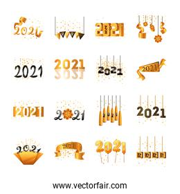 2021 happy new year detailed style collection of icons vector design