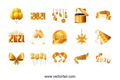 2021 happy new year detailed style set of icons vector design