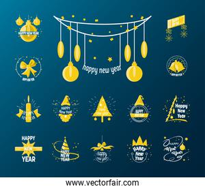 Happy new year detailed style icons bundle vector design