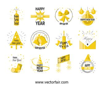 Happy new year detailed style set of icons vector design