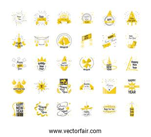 Happy new year detailed style 30 icon set vector design