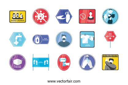 New normal detailed style set of icons vector design