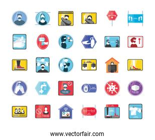 New normal detailed style 30 icon set vector design
