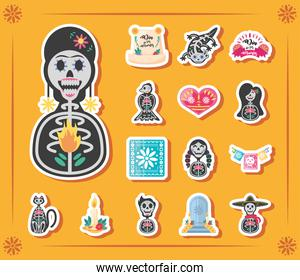 Mexican day of dead detailed style bundle of icons vector design