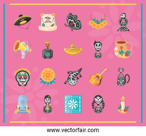 Mexican day of dead detailed style icons bundle vector design