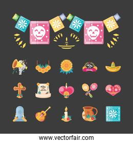 Mexican day of dead detailed style icons group vector design