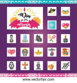 Mexican day of dead detailed style symbols set vector design