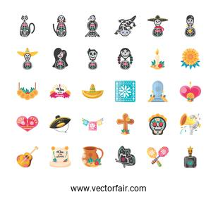 Mexican day of dead detailed style 30 icon set vector design